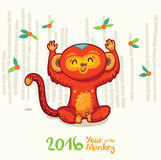 New Year card with Red Monkey for year 2016. Vector illustration of monkey in cartoon style, symbol of 2016 on the Chinese calendar Stock Photography