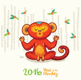 New Year card with Red Monkey for year 2016. Vector illustration of monkey in cartoon style, symbol of 2016 on the Chinese calendar Stock Photos