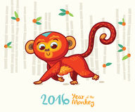 New Year card with Red Monkey for year 2016. Vector illustration of monkey in cartoon style, symbol of 2016 on the Chinese calendar Royalty Free Stock Photo