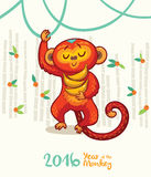 New Year card with Red Monkey for year 2016. Vector illustration of monkey in cartoon style, symbol of 2016 on the Chinese calendar Stock Image