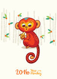 New Year card with Red Monkey for year 2016. Vector illustration of monkey in cartoon style, symbol of 2016 on the Chinese calendar vector illustration