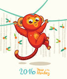 New Year card with Red Monkey for year 2016 Royalty Free Stock Images