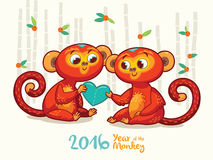 New Year card with Red Monkeys for year 2016. Vector illustration of monkey in cartoon style, symbol of 2016 on the Chinese calendar Stock Image