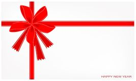 A New Year Card with Red Ribbon Royalty Free Stock Photos
