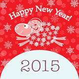 2015 new year card with red sheep. New year card with red sheep.  illustration Royalty Free Stock Images