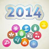 New Year card. Retro New Year 2014 card with set of month symbols Stock Illustration