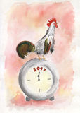 New Year card. Rooster on clock arrow minutes before midnight. New Year poster. Greeting card with Rooster sitting on clock with arrow showing minutes before Royalty Free Stock Photo