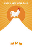 New Year card with rooster. New Year card with a rooster standing on Mt. Fuji and sunrise Royalty Free Stock Photos
