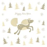 New Year card with a running horse. This is file of EPS10 format Stock Illustration