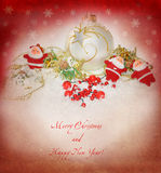 New Year card with Santas, vintage image Stock Image