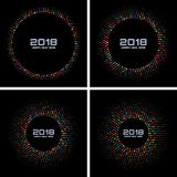 New Year 2018 Card Set Background. Bright Colorful Disco Lights Halftone Circle Frame isolated on black background. Round borders using rainbow colors confetti Stock Image