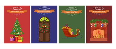 New Year card set. Four Christmas cards. Vector illustration Stock Photos