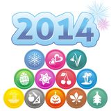 New Year card. New Year 2014 card with set of month symbols Royalty Free Illustration
