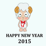 2015 new year card with sheep.  Stock Photo