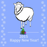 2015 new year card. With sheep vector illustration