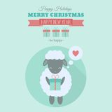 New Year card with sheep in flat. New Year card with symbol of year cute sheep with gift. Vector holiday illustration in flat style Stock Image