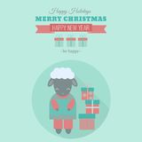 New Year card with sheep in flat. New Year card with symbol of year sheep with gifts. Vector holiday illustration in flat style Royalty Free Stock Photography