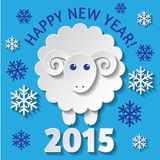New Year card with a Sheep. New Year greeting card with a cute Sheep, symbol of new year 2015 Royalty Free Stock Image