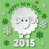 New Year card with a Sheep. New Year greeting card with a cute Sheep, symbol of new year 2015 Royalty Free Stock Images