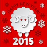 New Year card with a Sheep. New Year greeting card with a cute Sheep, symbol of new year 2015 Stock Photography