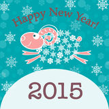 2015 new year card with sheep. New year card with sheep.  illustration Royalty Free Stock Images