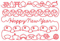 New year card with sheep and Japanese icons. red thread. Stock Photos