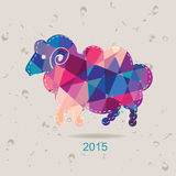 2015 new year card with sheep made of triangles Royalty Free Stock Photos