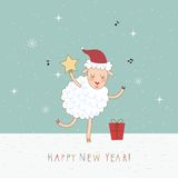 2015 New Year card with sheep. Vector illustration Stock Photo
