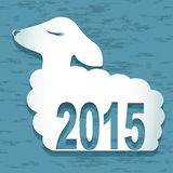 2015 new year card with  sheep. vector illustration. Happy New Year Sheep 2015 design card vector Stock Photos
