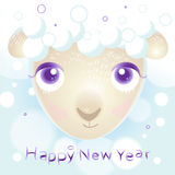 New year card with sheep. For your design Stock Photos