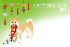 New Year card 2018- Shiba inu Carrying a Japanese Battledore, Tr Stock Image