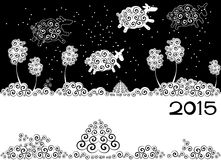 New Year card. With silhouette sheep stock illustration