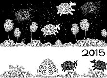 New Year card. With silhouette sheep royalty free illustration