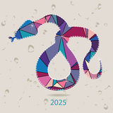 The 2025 new year card with Snake made of triangles Royalty Free Stock Image
