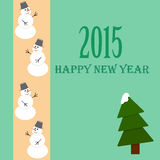 New year card. With snowman and christmas tree Stock Images