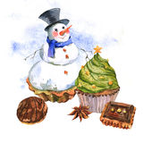 New Year Card with Snowman Cupcakes Stock Photography