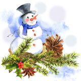 New Year Card with Snowman Cupcakes Stock Illustration