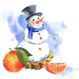 New Year Card with Snowman Cupcakes Royalty Free Stock Images