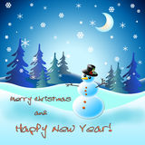 New year card with snowman. On a snow background Royalty Free Stock Image