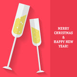 New Year card with the sparkling wine glasses Stock Image