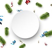 White round Christmas card with serpentine. New Year card with spruce branches and colorful serpentine. Vector illustration Royalty Free Stock Photo