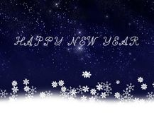 The new year card with stars and  snows illustrati Royalty Free Stock Image