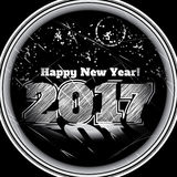 2017 new year card stylish attractive poster. Grayscale 2017 new year card stylish attractive poster with illumination and fireworks at night Stock Image