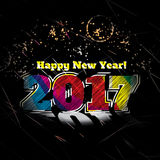 2017 new year card stylish attractive poster. With illumination and fireworks at night Royalty Free Illustration