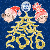 2016 new year card with stylized New Year tree and cute  monkeys. Cute monkey - the symbol of the New Year 2016. Vector illustration, isolated  elements for Royalty Free Stock Photos