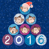 2016 new year card with stylized New Year tree of cute  monkeys. Vector illustration of a cute monkey - the symbol of 2016 Stock Image