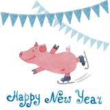 New Year card with the symbol of the year pig and flags drawn in. New Year card with the symbol of the year pig and blue flags drawn in watercolor Royalty Free Stock Photos