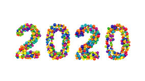 2020 New Year card or template. With the date formed of rainbow colored balls densely packed over a white background with copy space Royalty Free Stock Photography