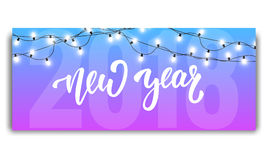 New Year 2018. Card template with glowing garlands and hand lettering New Year. New Year 2018. New Year 2018 invitation. Card template with glowing garlands and royalty free illustration
