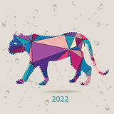 The 2022 new year card with Tiger made of triangles. Vector Royalty Free Stock Photo